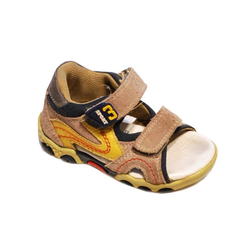 Hnedožlté chlapčenské sandále Sport
