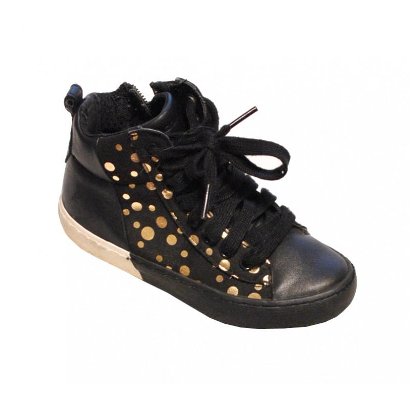Čierne dievčenské plné botasky Geox