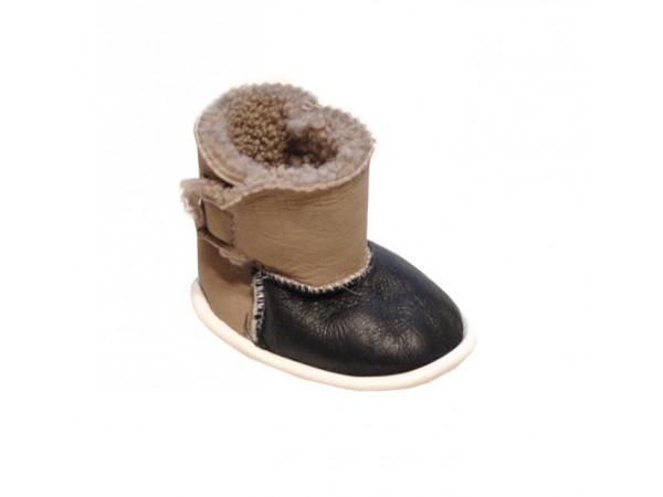 Hnedočierne zimné papučky chlapčenské