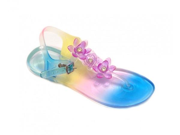 Pestrofarebné plážové dievčenské sandále