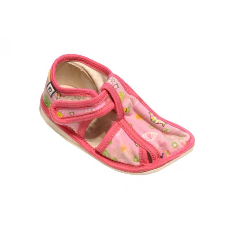 Ružové dievčenské papučky s potlačou