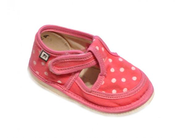 Ružové bodkované dievčenské papučky