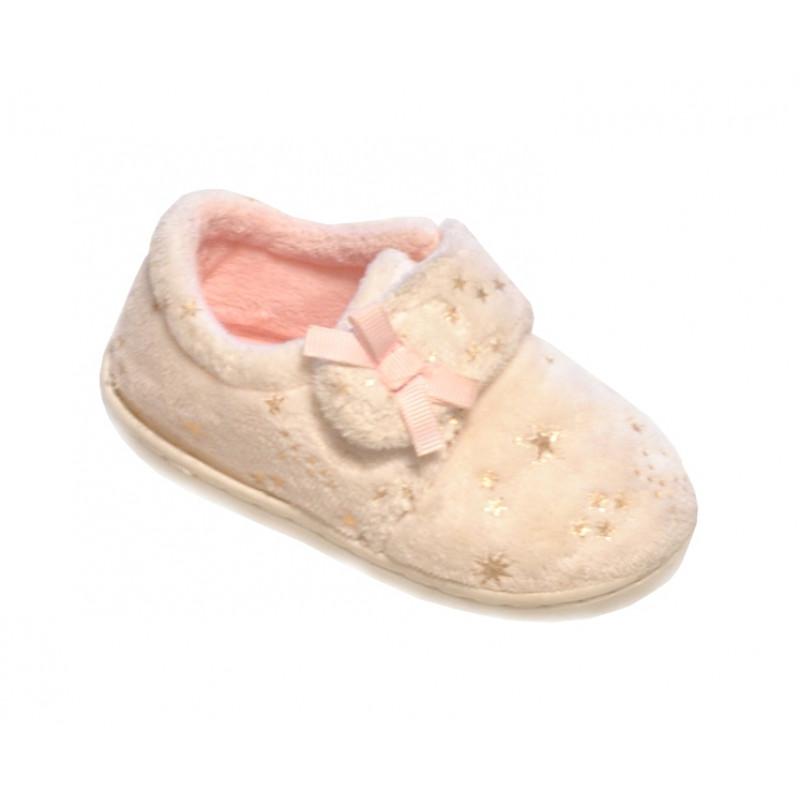 Biele dievčenské papučky teplé s hviezdičkami
