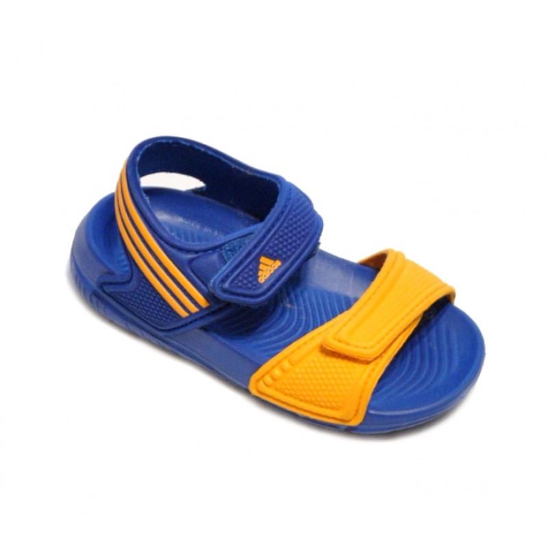 Modrooranžové plážové šľapky chlapčenské ADIDAS