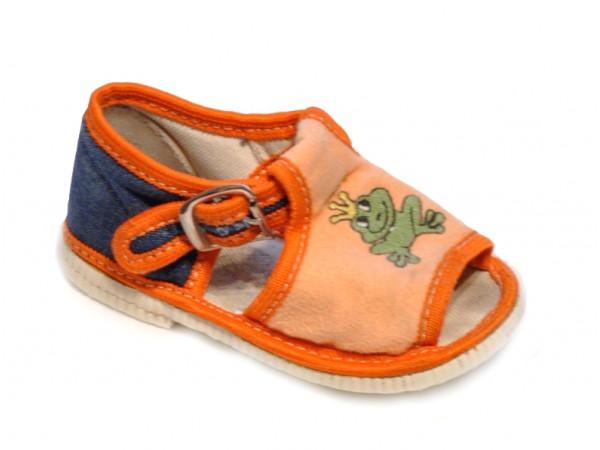 Oranžové letné papučky s potlačou žabky