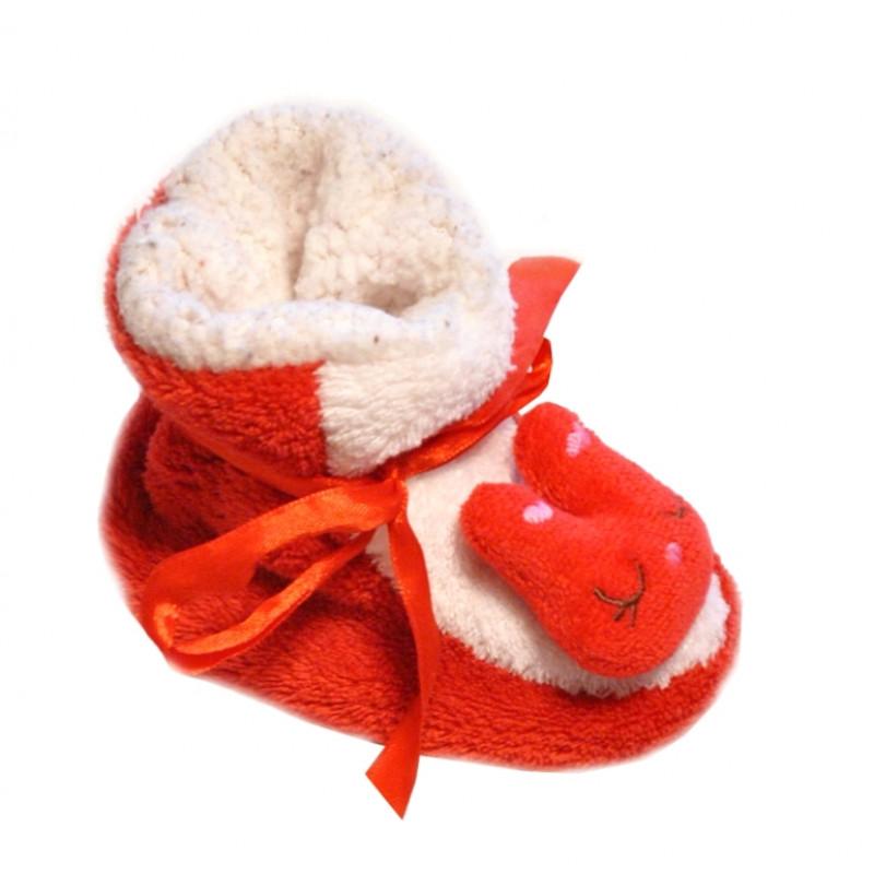 Červené baby papučky so šnúrkou a vzorom mačičky