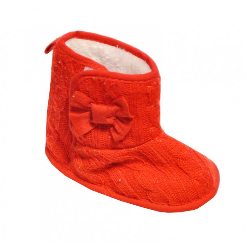 Červené baby papučky dievčenské so suchým zipsom