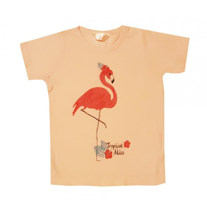 Dievčenské ružové tričko skrátkym rukávom