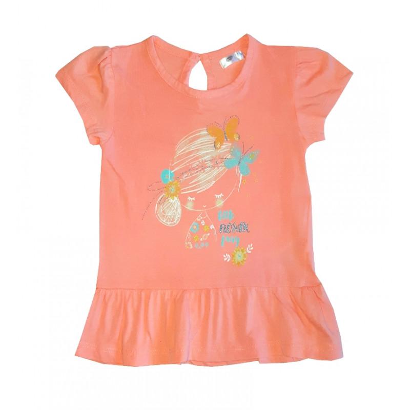 Dievčenské tričko korálová