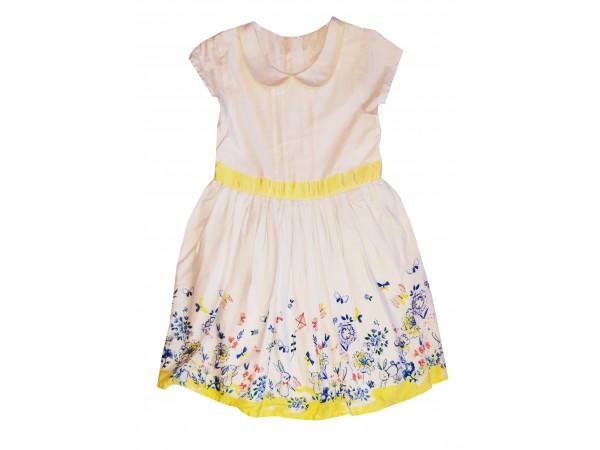 Dievčenské šaty skrátkym rukávom, biele