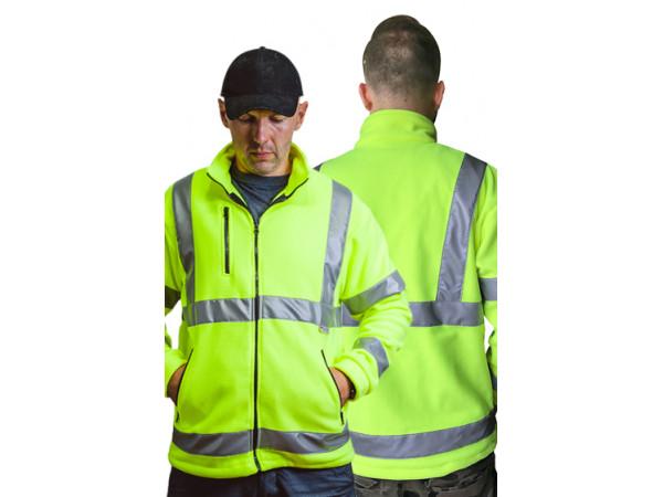 Pánska fleecova bunda bezpečnostná žltá