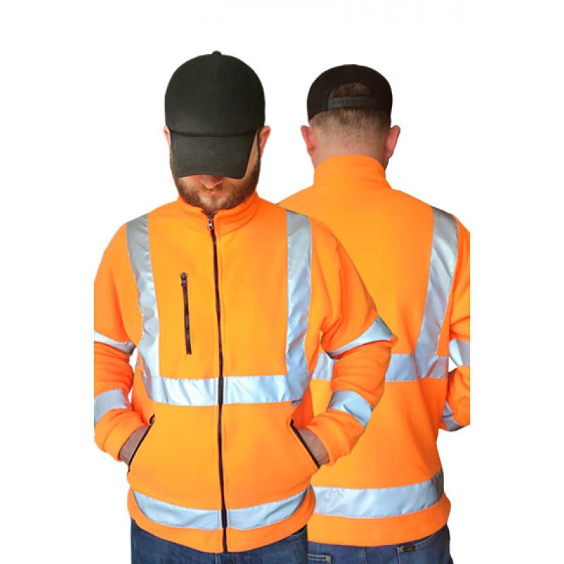 Pánska fleecova bunda bezpečnostná oranžová