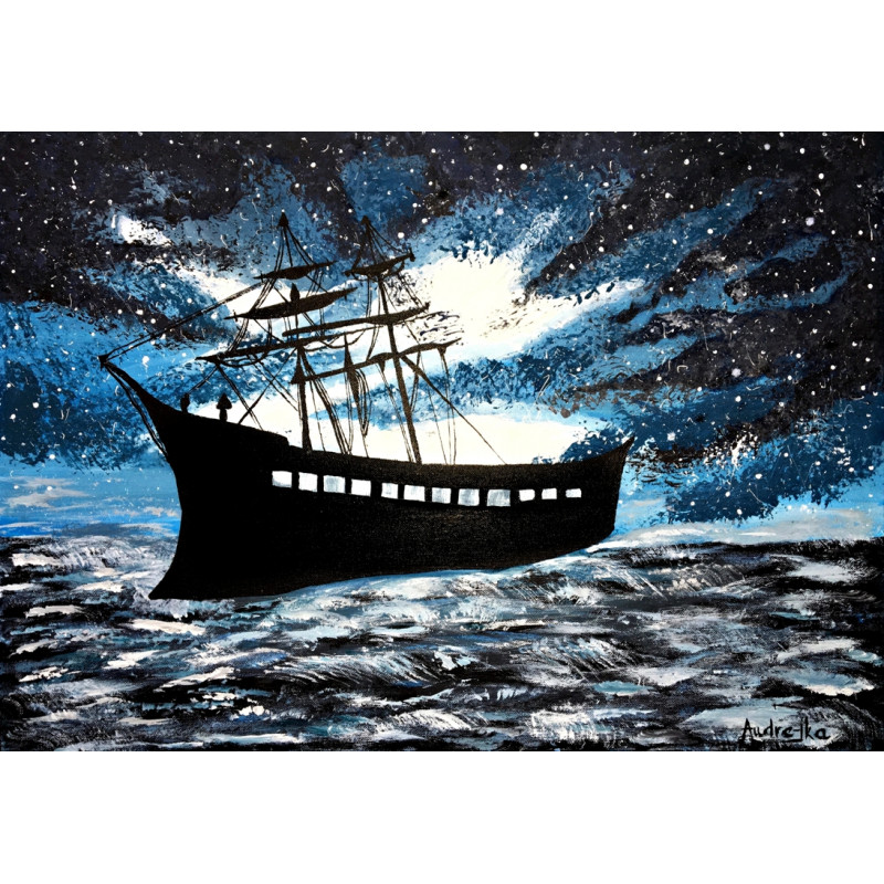 Loď na rozbúrenom mori