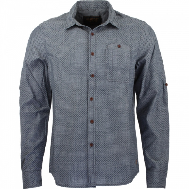 Pánska košeľa GLO-STORY sivá, s tmavomodrými detailmi