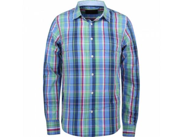 Pánska košeľa GLO-STORY modrá, s viacerými farbami (zelená, modrá, žltá, červená)
