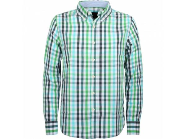 Pánska košeľa GLO-STORY biela, viacfarebné károvanie (modrá, zelená)