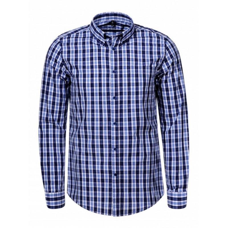 Pánska košeľa GLO-STORY svetlomodrá, tmavomodro károvaná