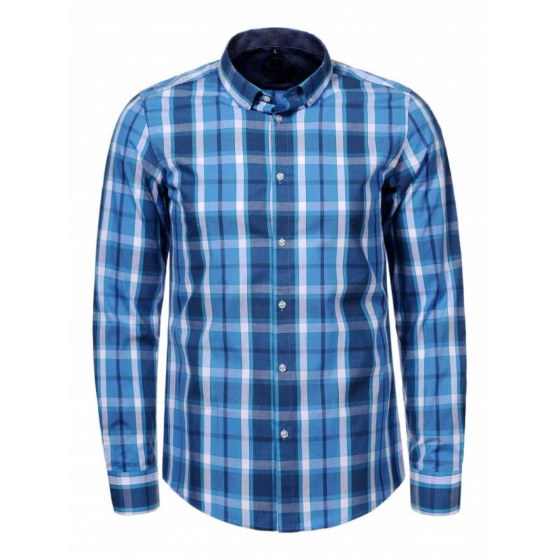Pánska košeľa GLO-STORY modrá, károvaná