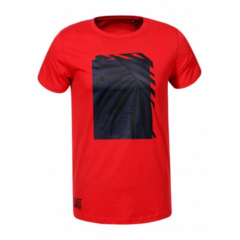 Pánske tričko GLO-STORY červené s dizajnom palmy