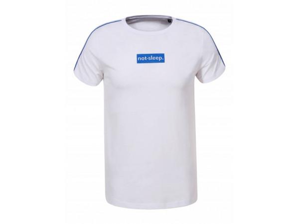 Pánske tričko GLO-STORY biele s  modrým nápisom a pásom na rukáve