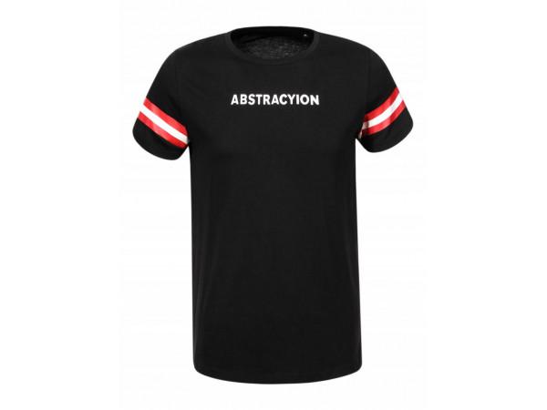 Pánske tričko GLO-STORY čierne s nápisom a červeno bielymi pásikmi na rukáve