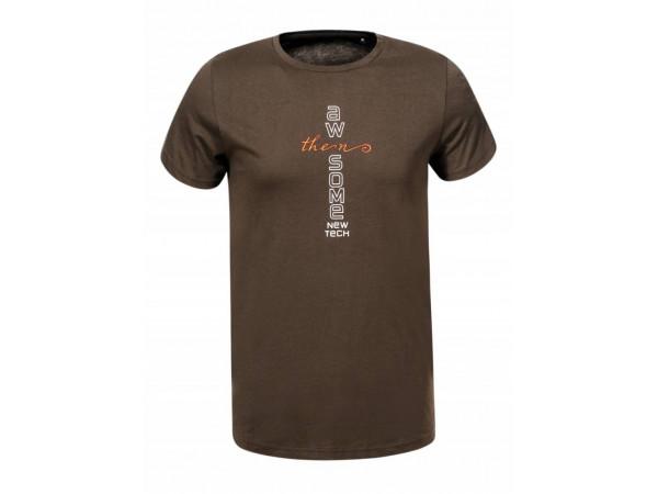 Pánske tričko GLO-STORY hnedé s nápisom