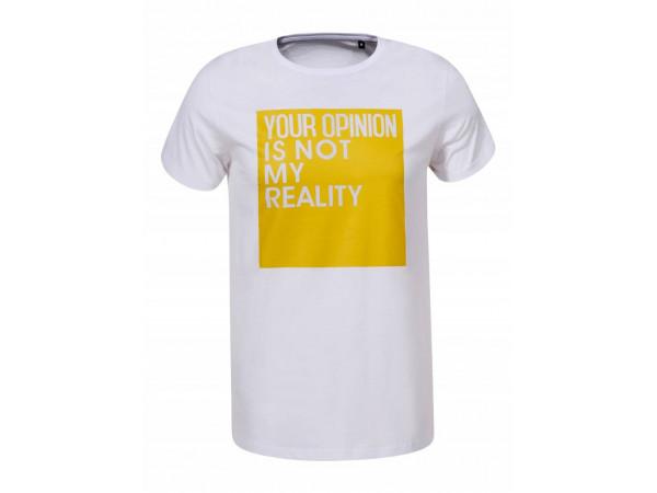 Pánske tričko GLO-STORY biele so žltým nápisom