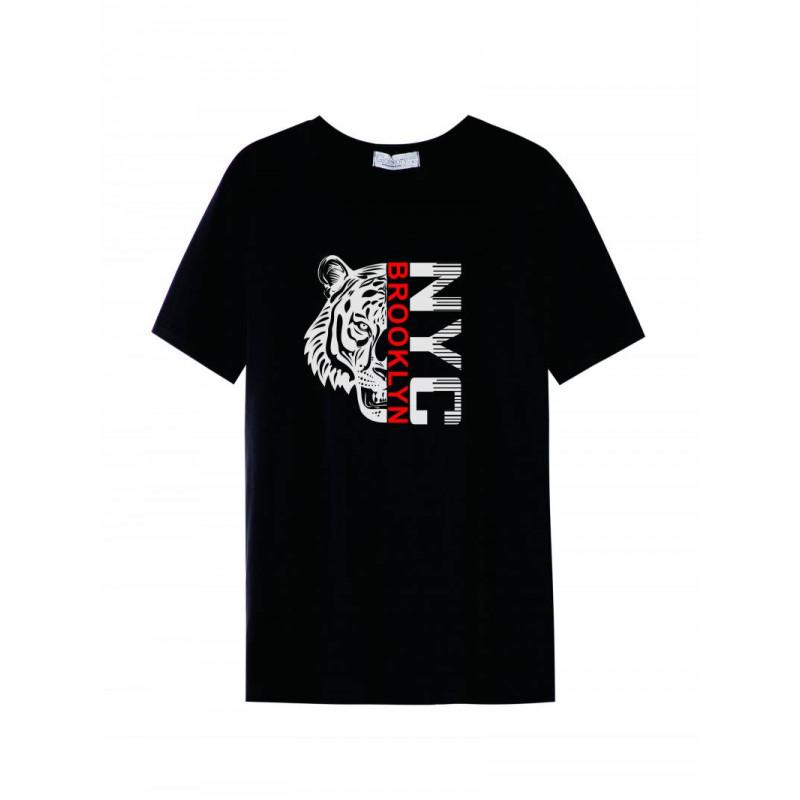 Pánske tričko GLO-STORY čierne so vzorom tigra a nápisom