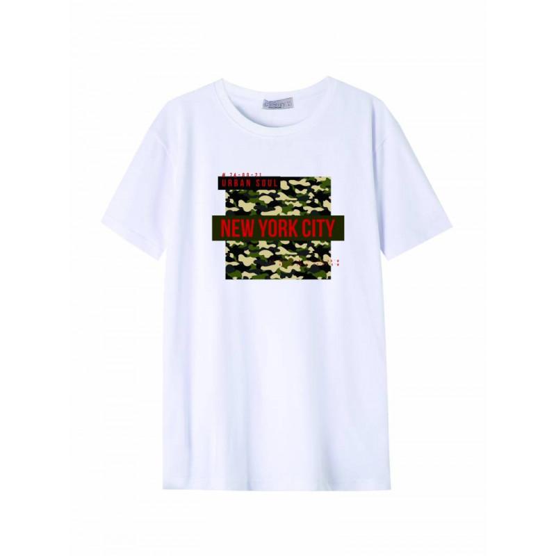 Pánske tričko GLO-STORY biele s army vzorom a nápisom NEW YORK