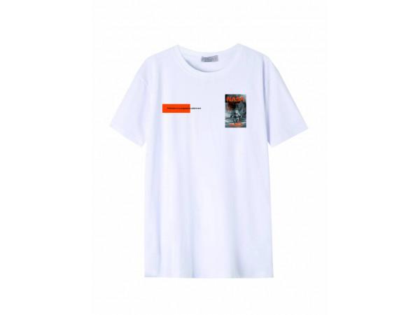 Pánske tričko GLO-STORY biele s nápisom a detailom NASA