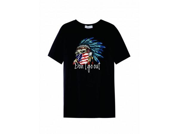 Pánske tričko GLO-STORY čierne s nápisom a obrázkom orla