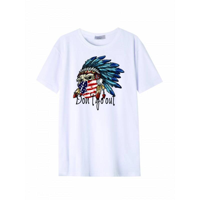 Pánske tričko GLO-STORY biele s nápisom a obrázkom orla