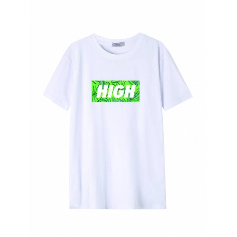 Pánske tričko GLO-STORY biele so zeleným nápisom