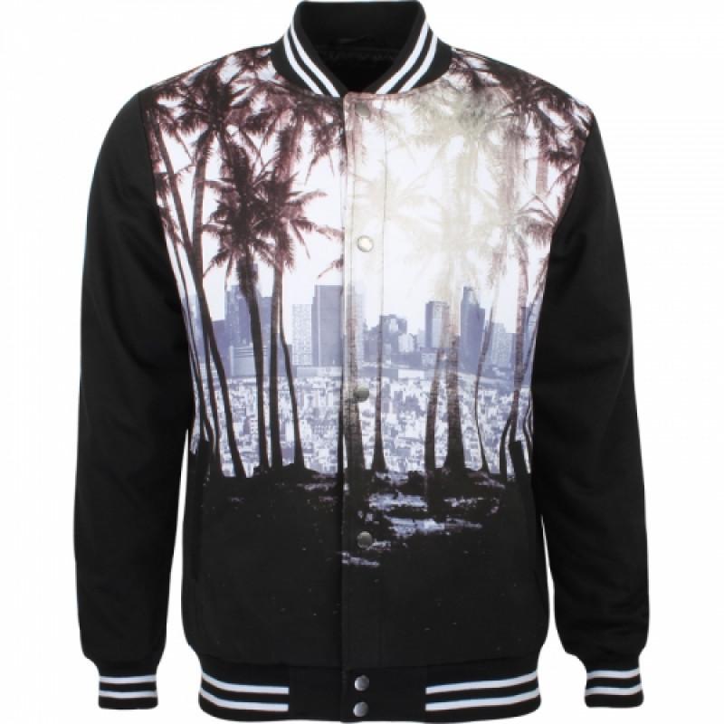 Pánska bunda GLO-STORY čierna, so vzorom palmy