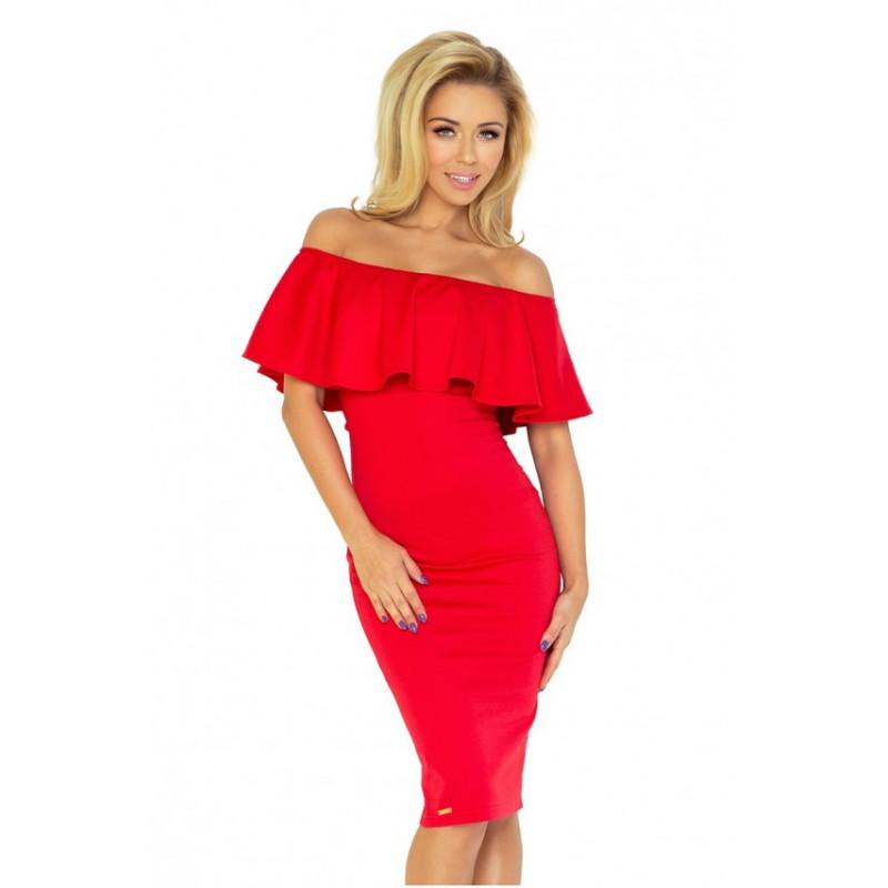 Dámske elegantné šaty elastické červená farba