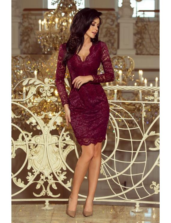 Dámske čipkované šaty bordové
