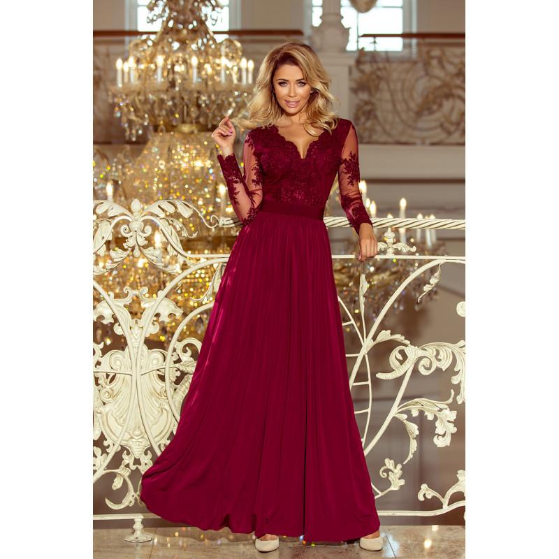 Dámske elegantné šaty vínová farba
