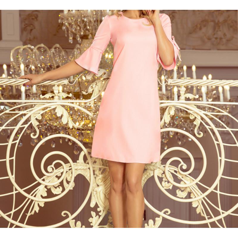 Dámske trapézové šaty pastelovo ružová