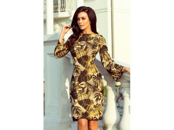 Dámske elegantné šaty farby horčicovej