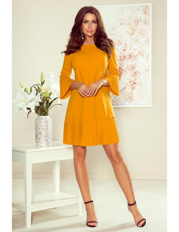 Dámske elegantné šaty horčicovej farby