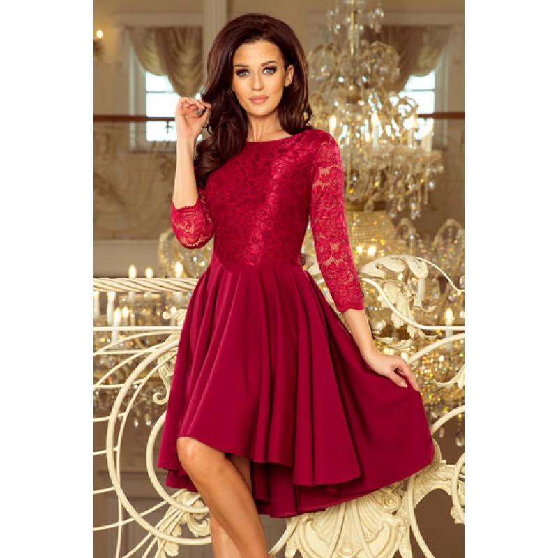 Dámske elegantné šaty čipkované bordové