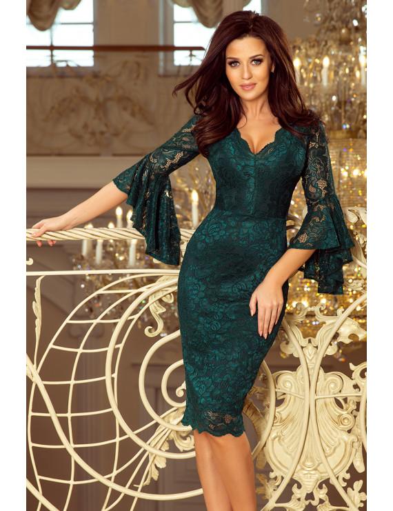 Dámske elegantné šaty smaragdovo zelenej farby