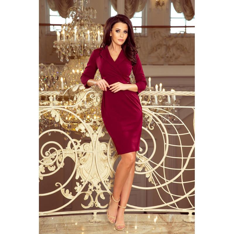 Dámske elegantné šaty vínovo bordová farba