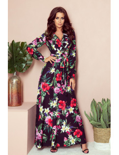 Dámske elegantné šaty čierne s motívom kvetov