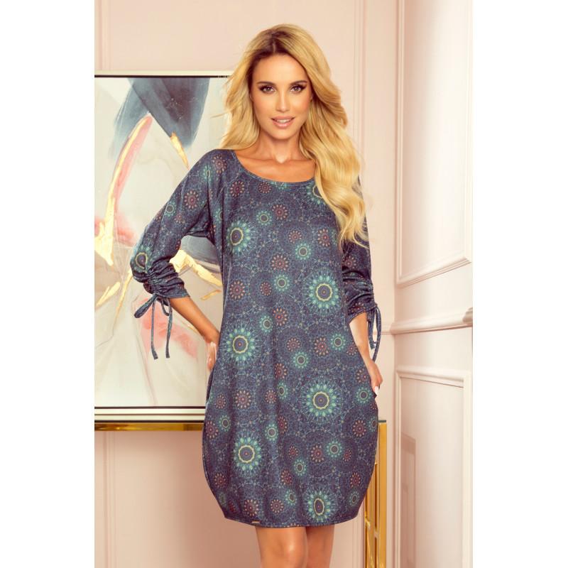 Dámske šaty Tmavo modré, s motívom mandál
