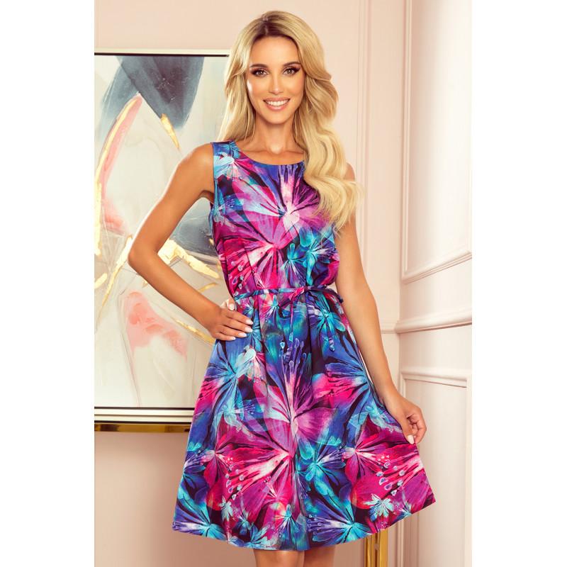 Dámske šaty kvetovaný vzor – ružová + modrá