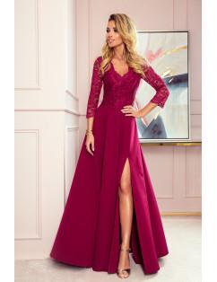 Dámske elegantné šaty bordové čipkované