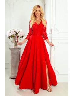 Dámske elegantné šaty čipkované červené