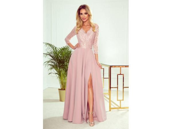 Dámske elegantné šaty pudrovo ružová