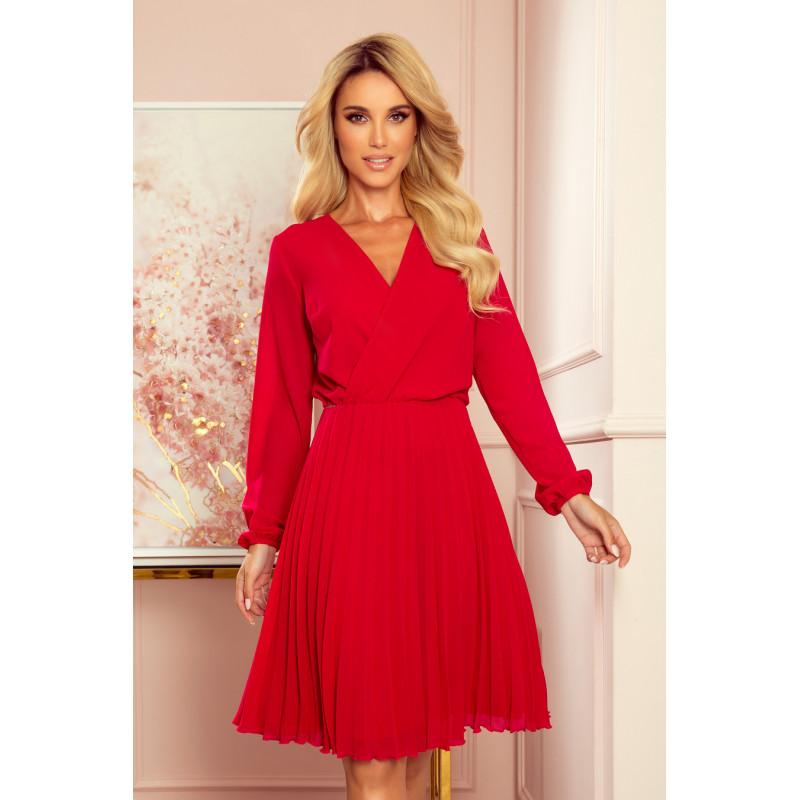 Dámske šifónové šaty elegantné červená